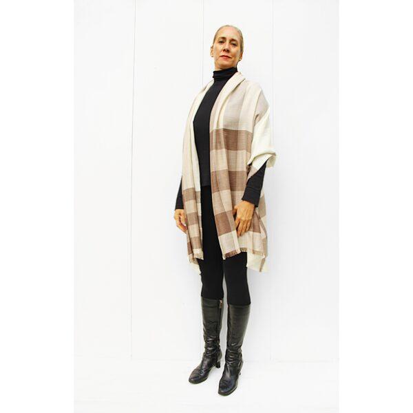 Stole finest alpaca & silk scarf beige