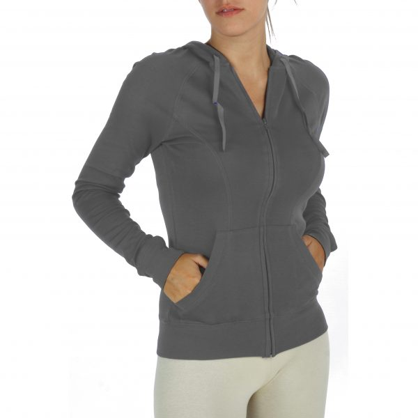 hooded long sleeve jacket sweatshirt with zip in organic pima cotton