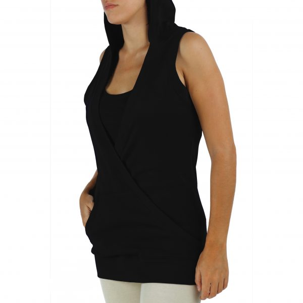 hooded-sleeveless-sweatshirt-organic-pima-cotton with 2 front pockets