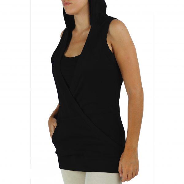 hooded-sleeveless-sweatshirt-organic-pima-cotton with 2 front pockets