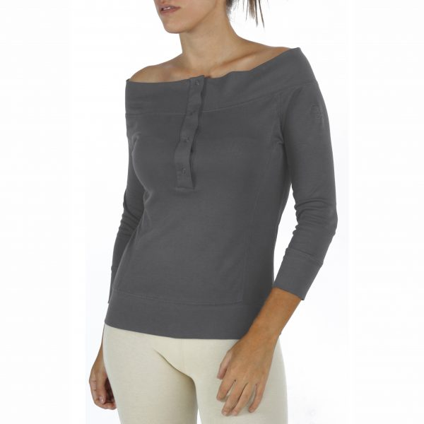 3/4 Sleeve Top in Organic Pima cotton drop neck
