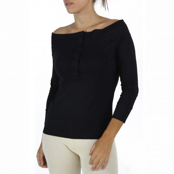 3/4 Sleeve Top in Organic Pima cotton drop neck