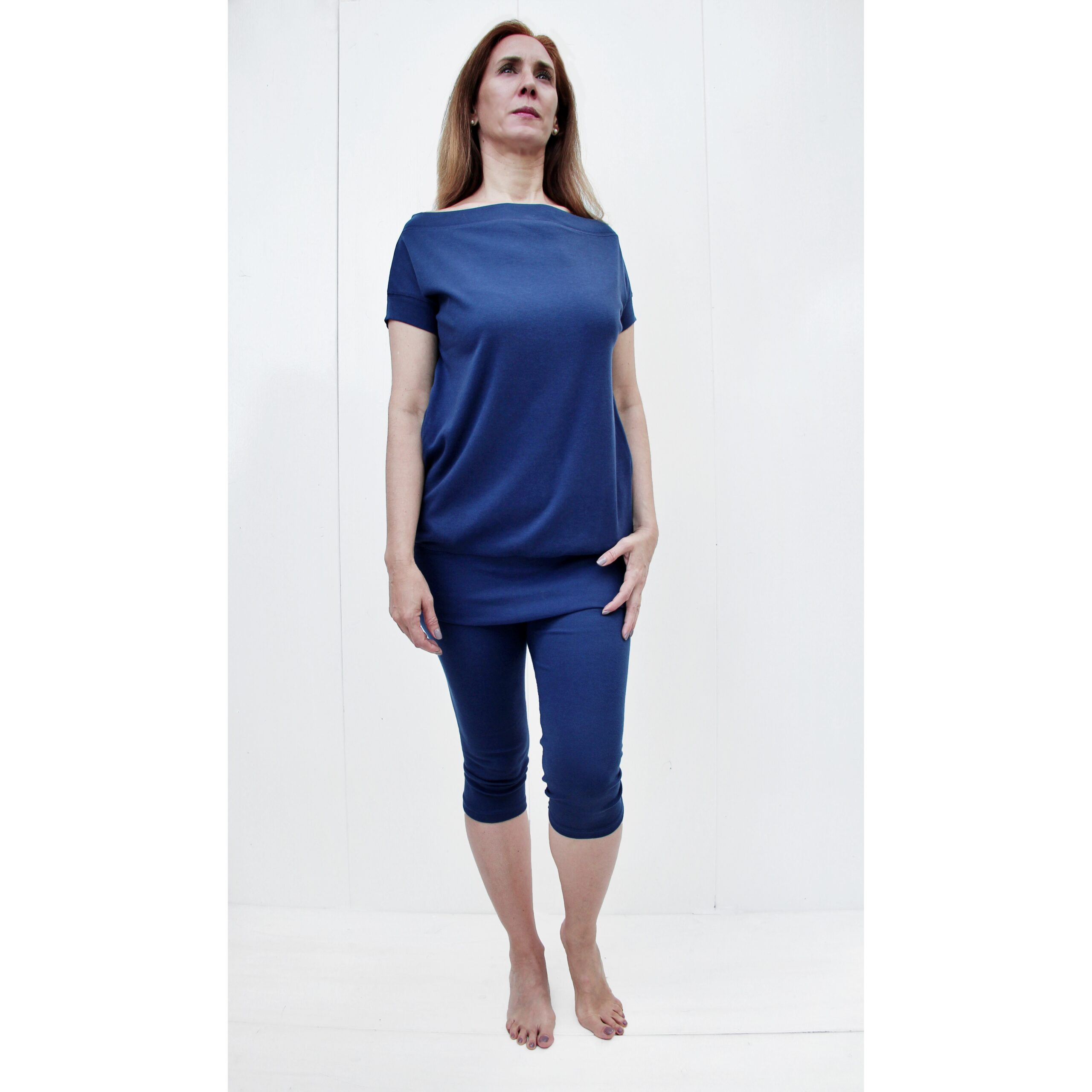short sleeve maxi blouse with 2 pockets boat neck