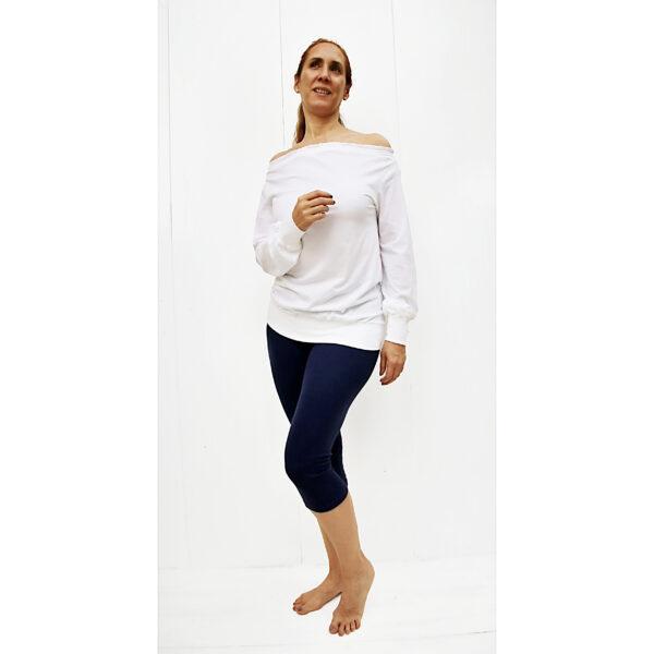 Long sleeve maxi blouse drop neck off shoulder organic pima cotton slowfashion fairfashion