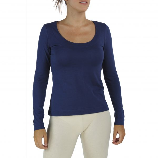Long Sleeve Scoop Neck Top in Organic Pima Cotton