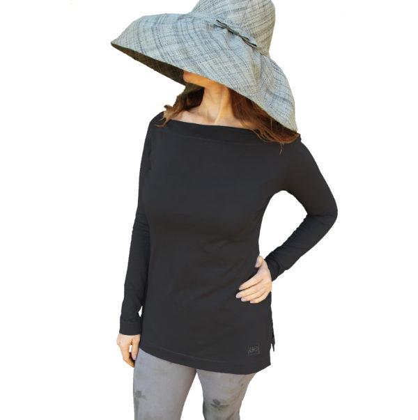 Long Sleeve Boat neck Top organic pima cotton slowfashion