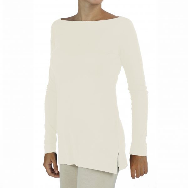 Long Sleeve Boat Neck Top in Organic Pima Cotton
