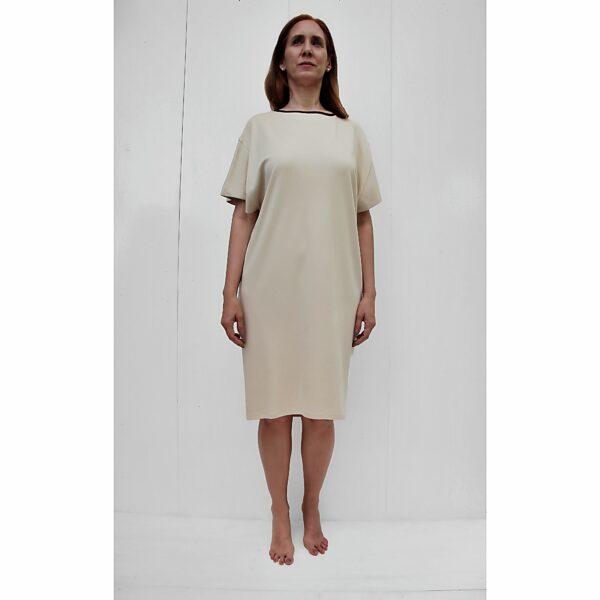 contrasting colour neckline binding short sleeve dress organic pima cotton slowfashion responsible fashion SAND