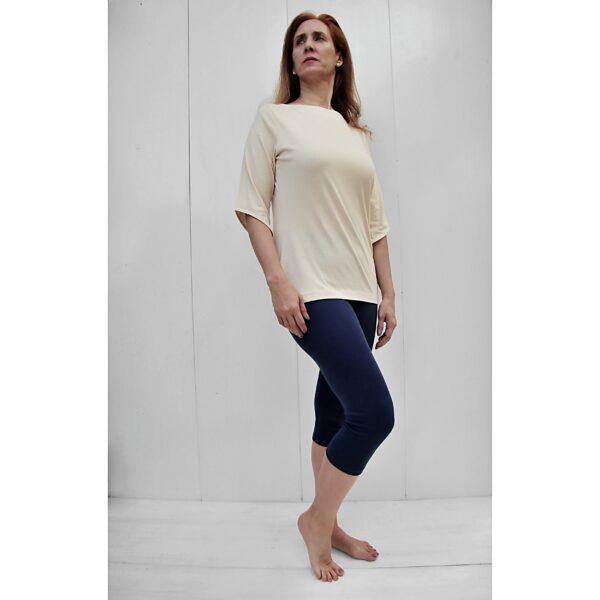 boat neck 3/4 sleeve top pima organic cotton slowfashion