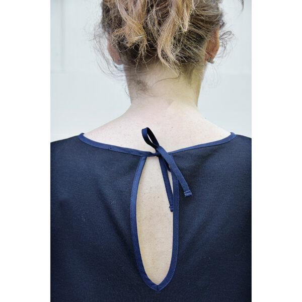 adjustable back opening short sleeve dress organic pima cotton slowfashion responsible fashion