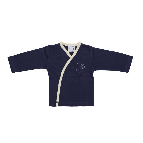 Newborn Long Sleeve Crossed T-Shirt in Organic Pima Cotton has an Angel embroidery in contrasting colour