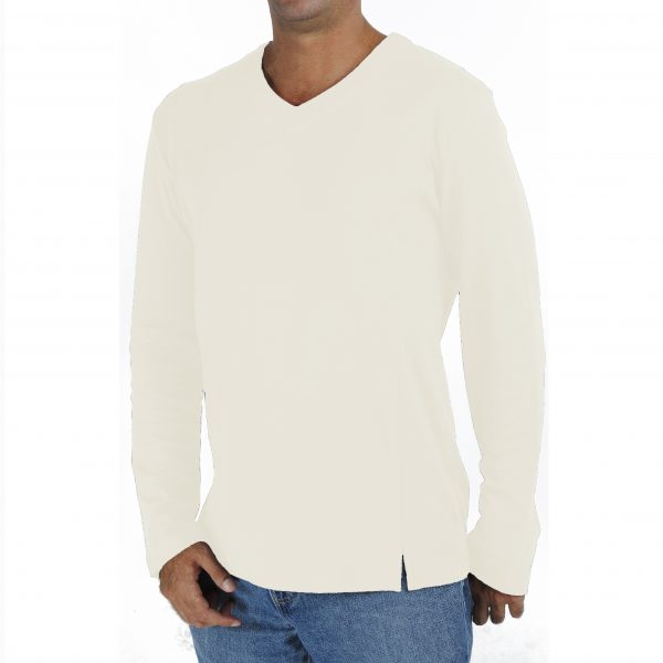 long-sleeve-v-neck-t-shirt in organic pima cotton