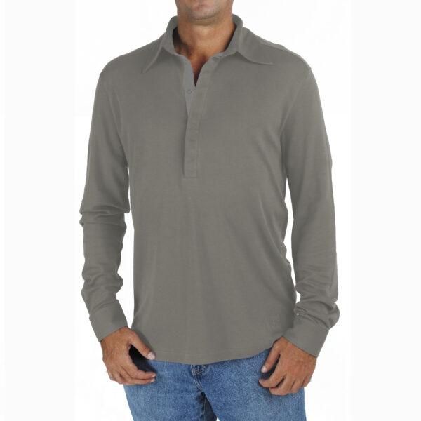 men-long-sleeve-polo-shirt-organic-pima-cotton slowfashion fairfashion quality grey taupe