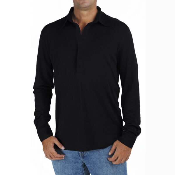men-long-sleeve-polo-shirt-organic-pima-cotton slowfashion fairfashion quality black