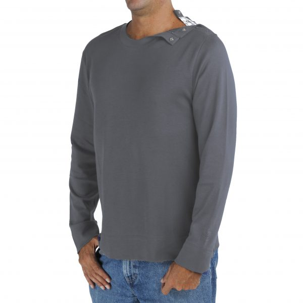 Men's Crew TShirt in Organic Pima CottonLong Sleeve with opening on the left shoulder