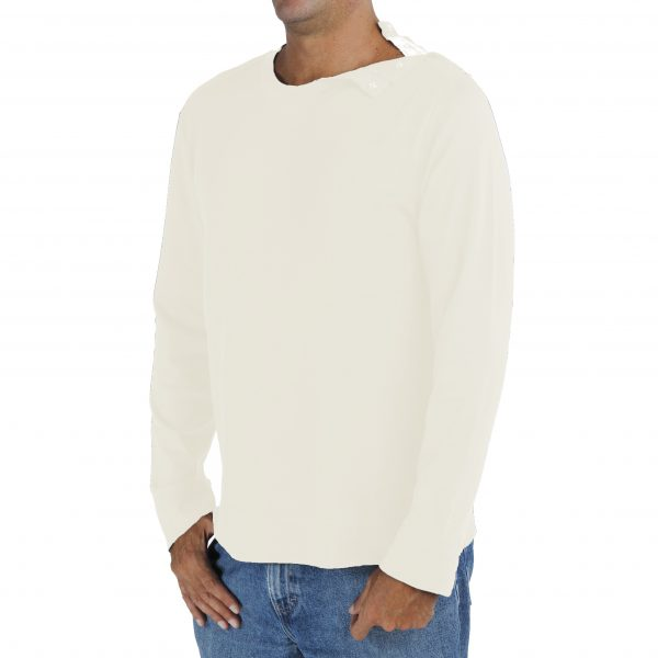 Long Sleeve Men's Crew TShirt in Organic Pima Cotton with opening on the left shoulder