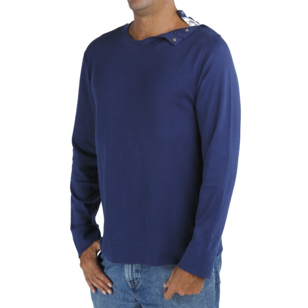 Men's Crew TShirt in Organic Pima Cotton Long Sleeve with opening on the left shoulder quality slowfashion fairfashion
