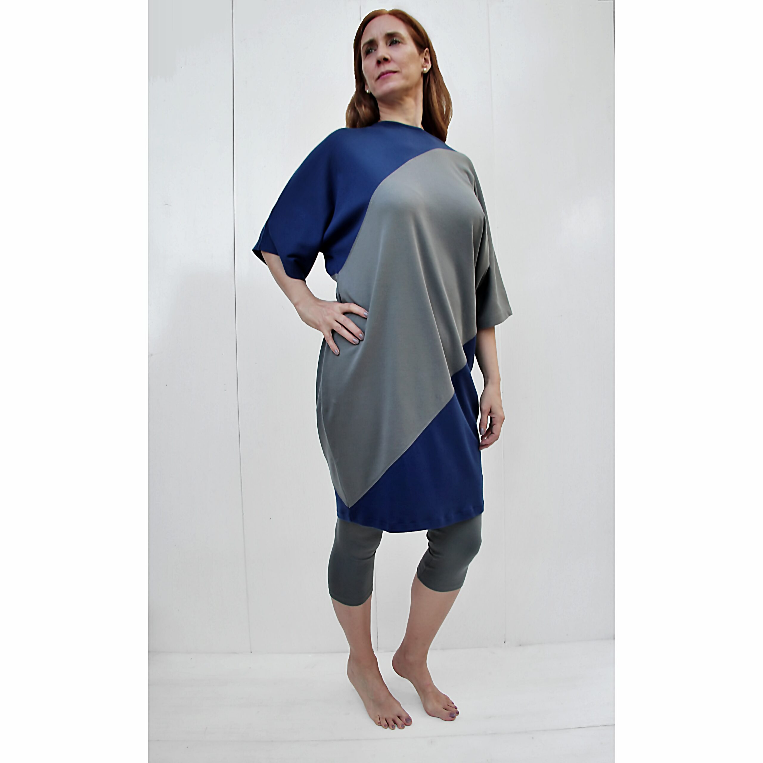 One Size bicolour kimono dress organic pima cotton slowfashion