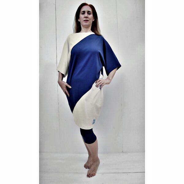 One Size bicolour kimono dress organic pima cotton slowfashion