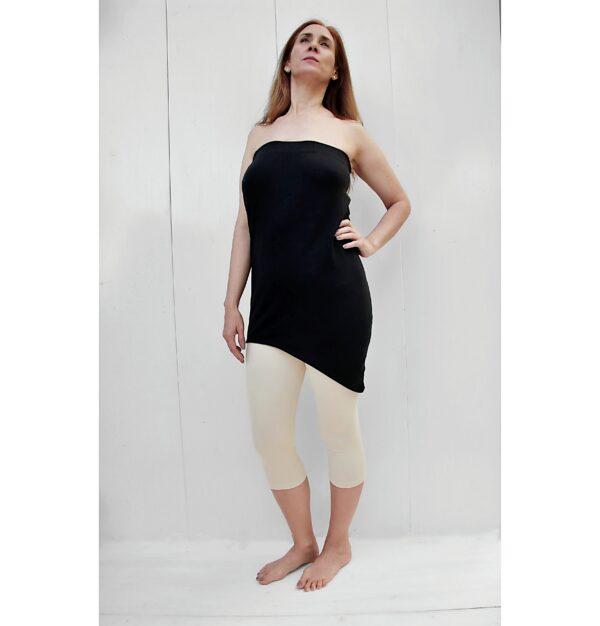 top skirt diagonal organic pima cotton BLACK
