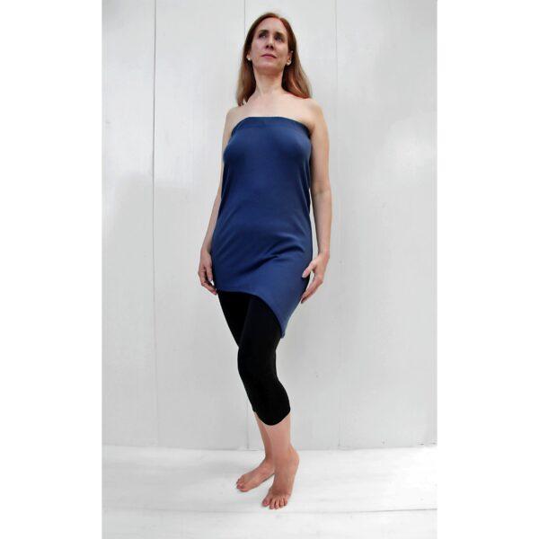 top skirt diagonal organic pima cotton BLUE