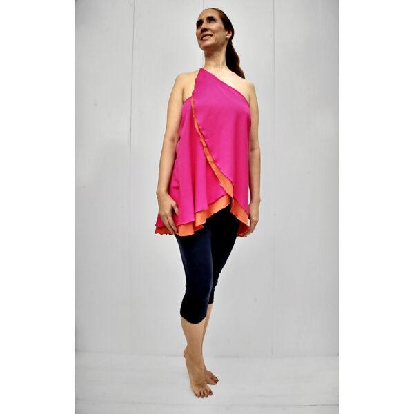 top skirt diagonal organic pima cotton fuxia