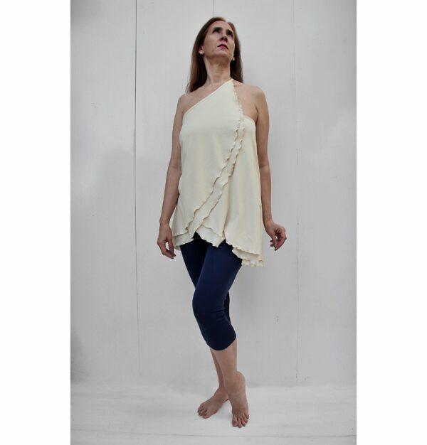 top skirt diagonal organic pima cotton sand