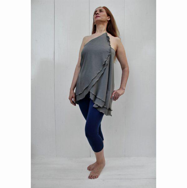top skirt diagonal organic pima cotton grey