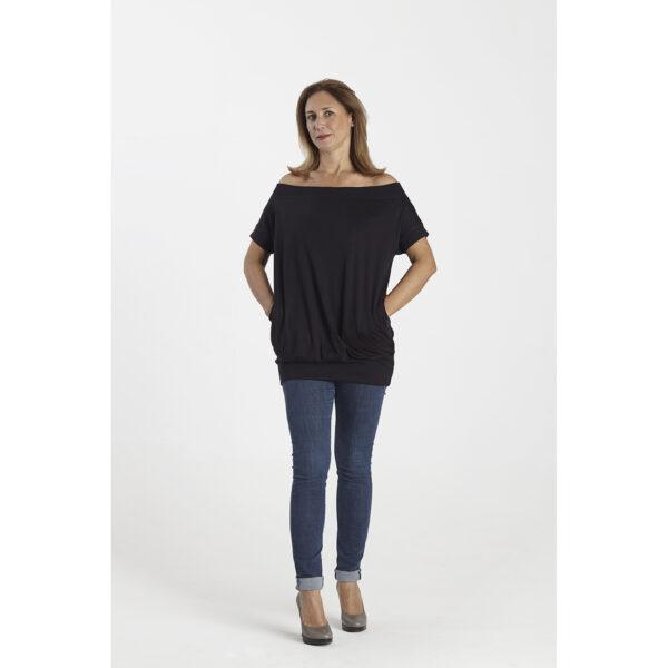 Maxi blouse short sleeve 2 pockets organic pima cotton slowfashion