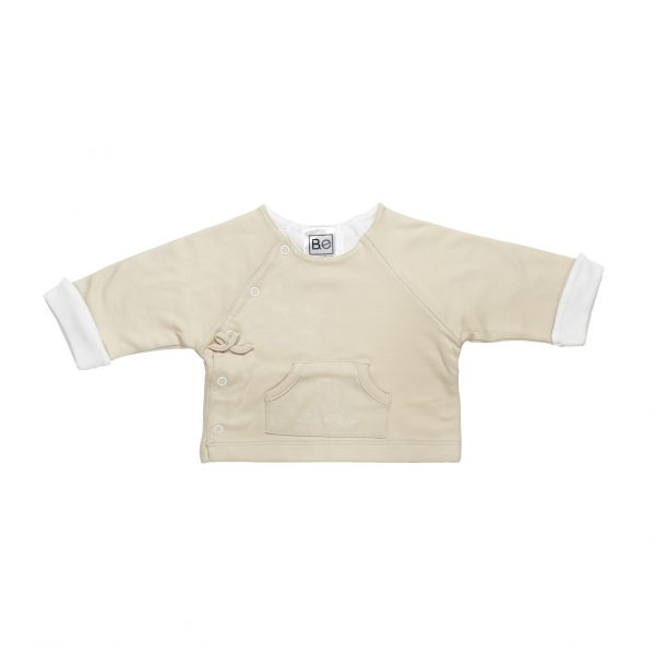 Newborn Reversible Jacket in Organic Pima Cotton with angel embroidery in contrast
