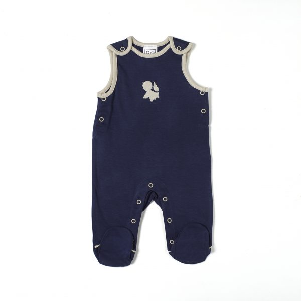 overall salopette with foot newborn in organic pima cotton