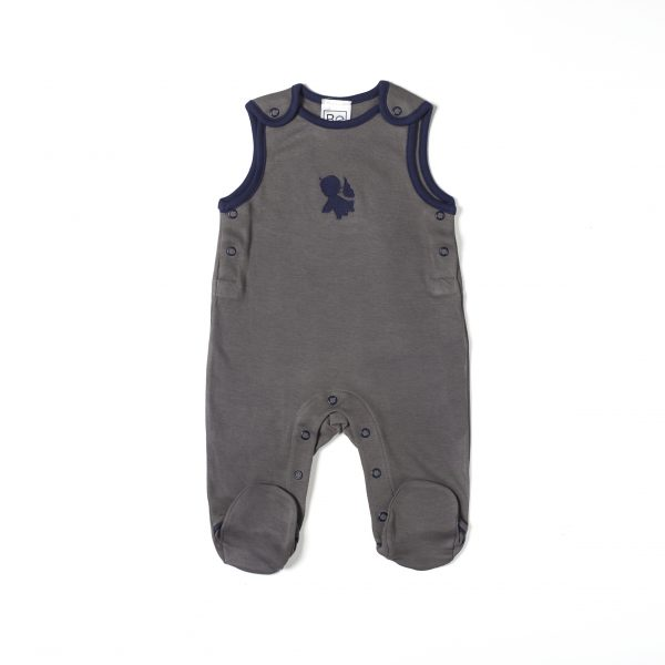 overall salopette with foot newborn in organic pima cotton with Angel embroidery