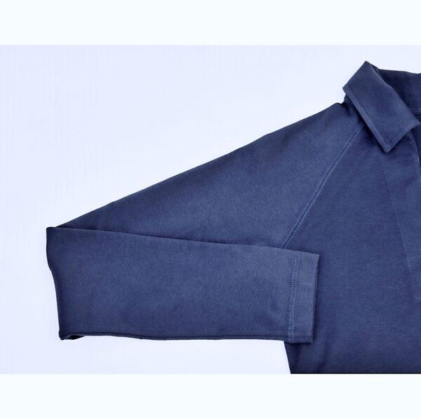 raglan long sleeve polo top refined basics slowfashion organic pima cotton