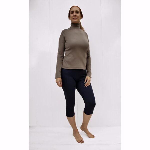 long-sleeve-turtle-neck-t-shirt in organic pima cotton slowfashion evergreen