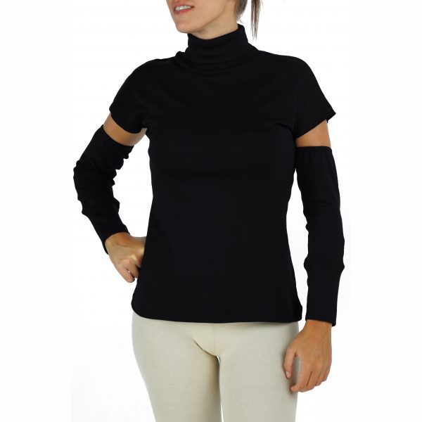 Detached Sleeves TurtleNeck Top in Organic Pima Cotton