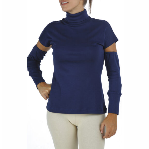 Detached Sleeves Turtle Neck Top in organic pima cotton slowfashion
