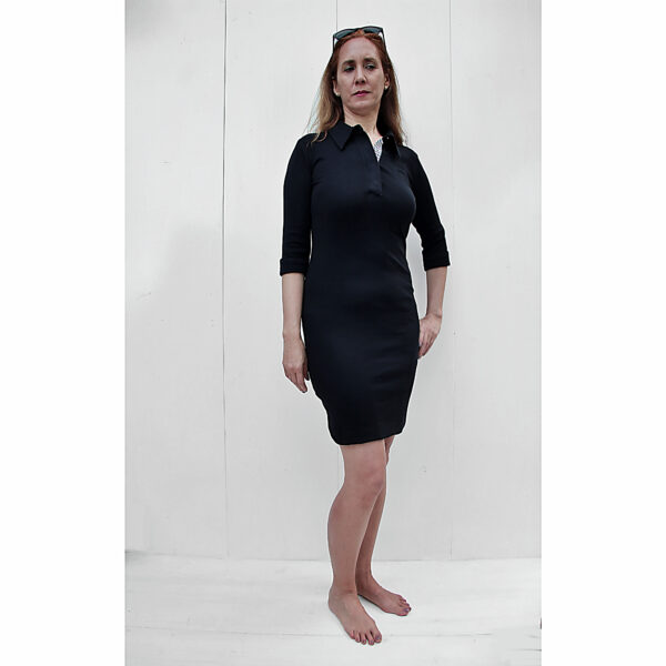 Stretch Polo dress organic pima cotton 3/4 sleeve slowfashion BLACK