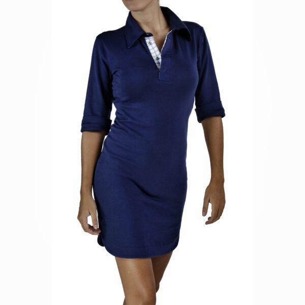 Stretch polo dress 3/4 sleeve organic pima cotton slowfashion