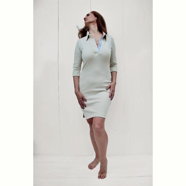 stretch Polo dress organic pima cotton 3/4 sleeve slowfashion sand