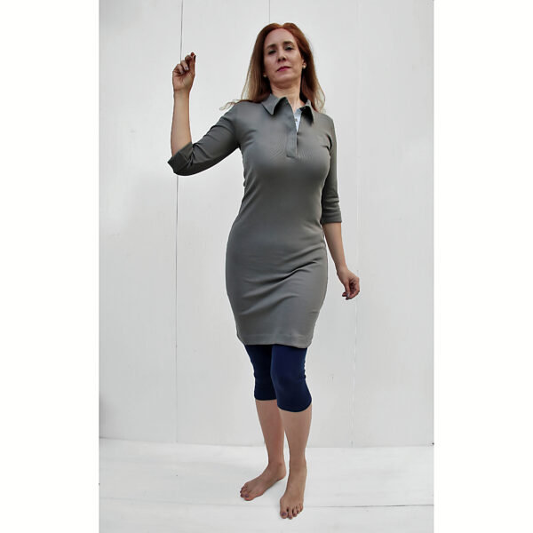 stretch Polo dress organic pima cotton 3/4 sleeve slowfashion